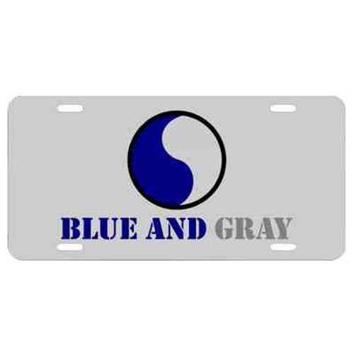 army 29th infantry division blue and gray license plate