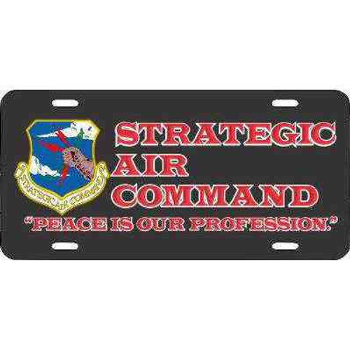 air force strategic air command license plate motto in black and red