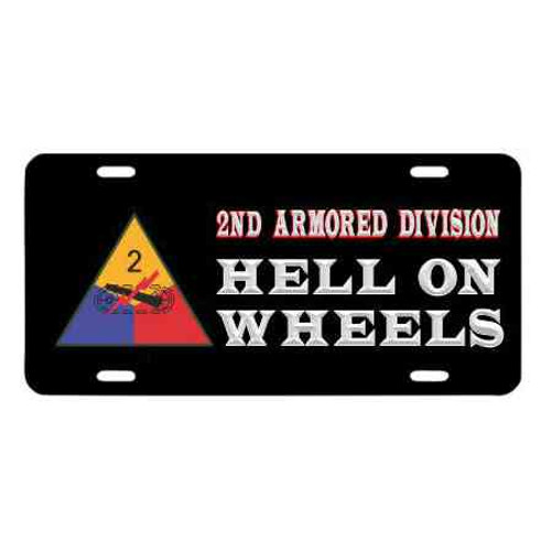 army 2nd armored division hell on wheels license plate