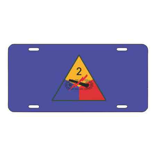 army 2nd armored division blue license plate