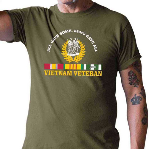vietnam veteran all gave some 58479 gave all tshirt in olive drab