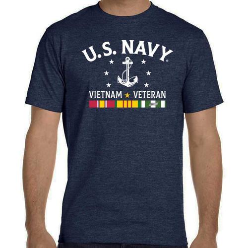 officially licensed us navy vietnam veteran tshirt 3 ribbons and anchor s
