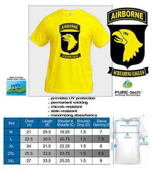 gold 101st airborne screaming eagles tshirt