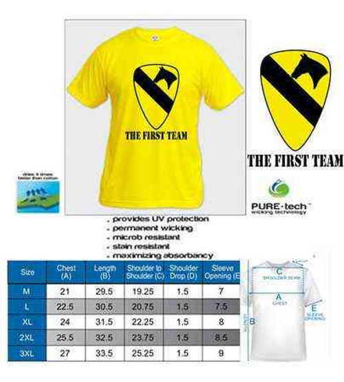 army 1st cavalry division first team tshirt