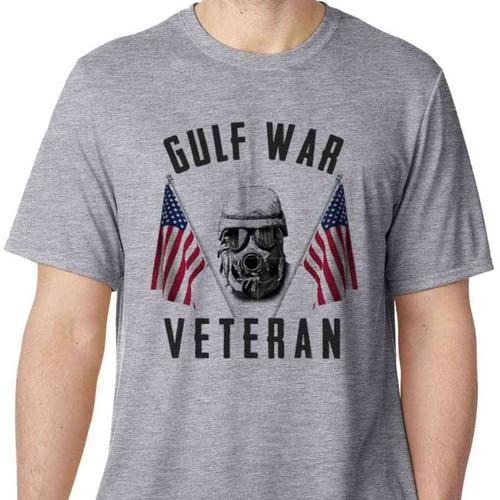gulf war veteran gas mask and american flags performance tshirt