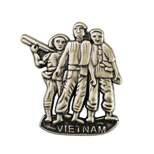 vietnam veteran 3 brothers statue hat lapel pin