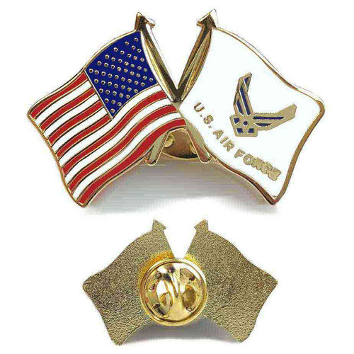 usaf and american flag hat lapel pin