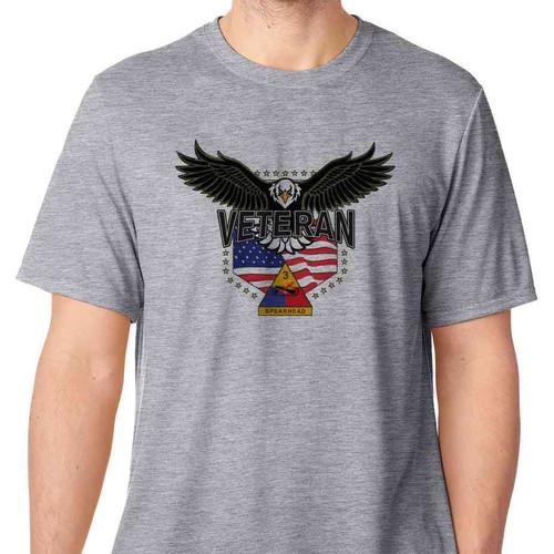3rd admored division w eagle basic grey tshirt