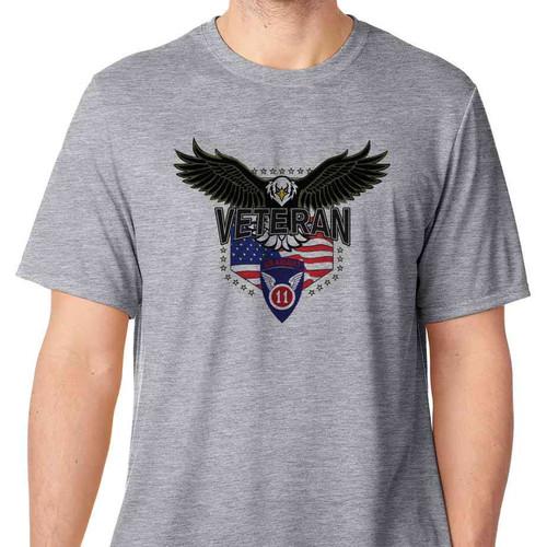 11th airborne division w eagle basic grey tshirt
