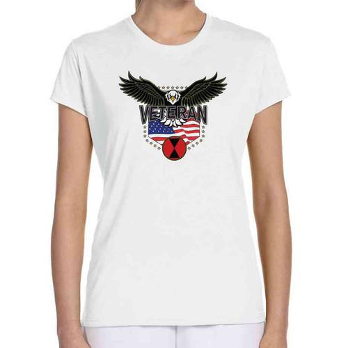 7th infantry division w eagle ladies white tshirt