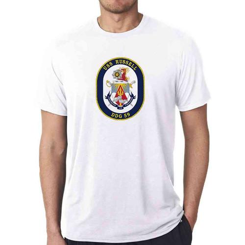 uss russell white tshirt