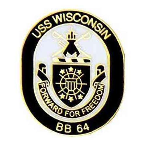 navy uss wisconsin hat lapel pin