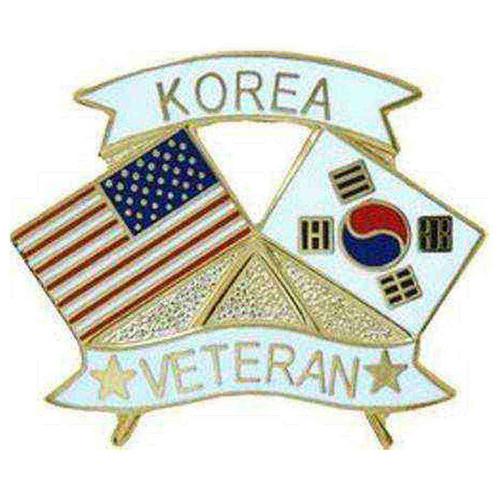 american and korea crossed flags veteran hat lapel pin