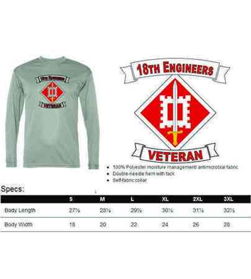 army 18th engineers veteran performance long sleeve shirt