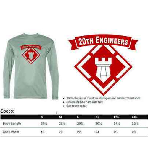 army 20th engineers performance long sleeve shirt