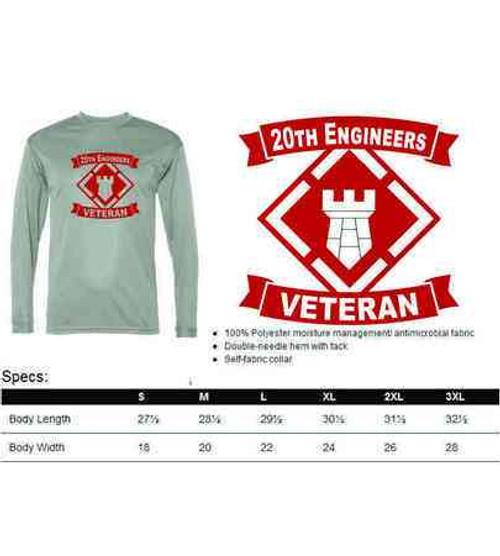 army 20th engineers veteran performance long sleeve shirt