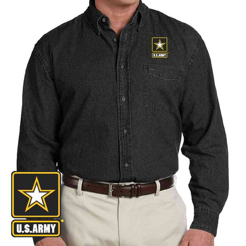 the officially licensed u s army logo embroidered denim shirt