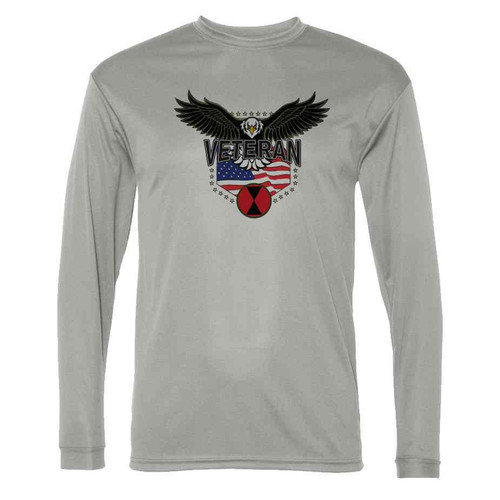 7th infantry division w eagle gray long sleeve shirt