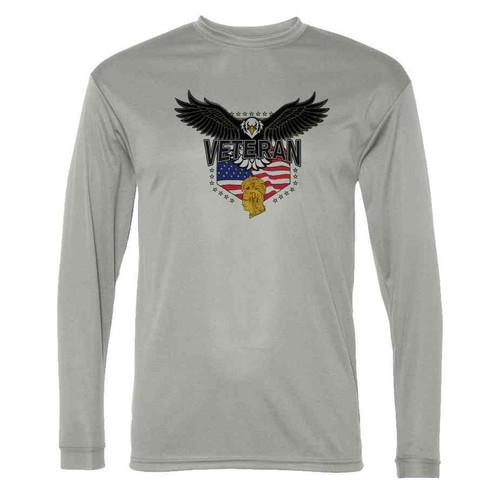 womens army corp w eagle gray long sleeve shirt