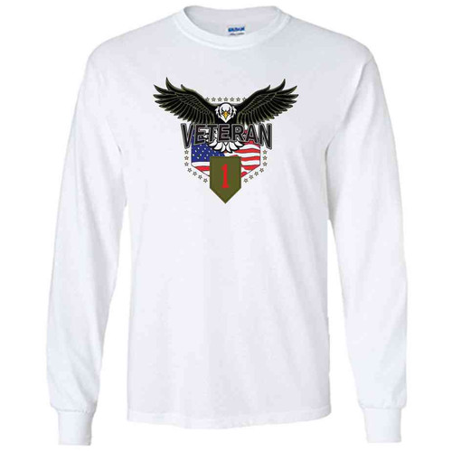 1st infantry division w eagle white long sleeve shirt