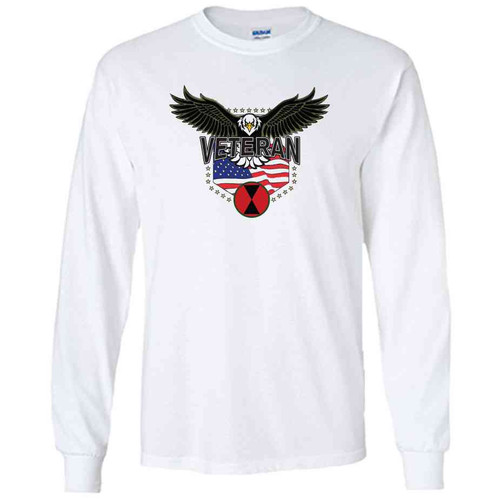 7th infantry division w eagle white long sleeve shirt