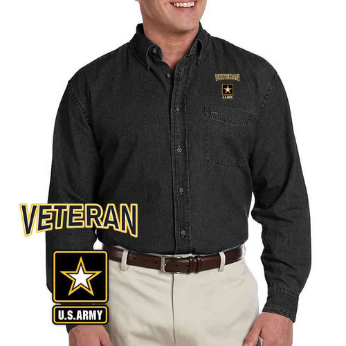 officially licensed us army veteran logo embroidered denim shirt