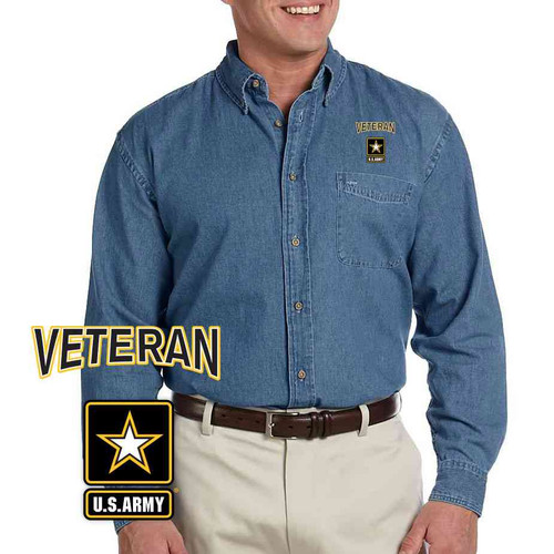 the officially licensed u s army veteran logo button down denim dress shirt