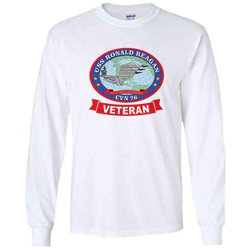 uss ronald reagan veteran white long sleeve shirt