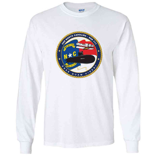 uss north carolina white long sleeve shirt