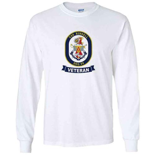 uss russell veteran white long sleeve shirt