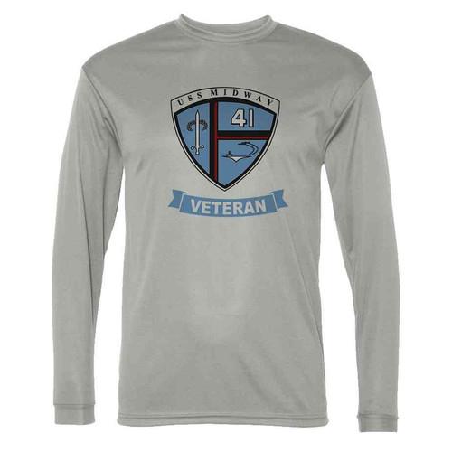 uss midway veteran grey long sleeve shirt
