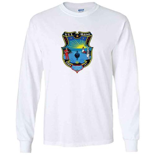 uss maine white long sleeve shirt