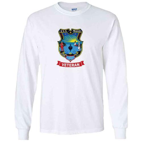 uss maine veteran white long sleeve shirt
