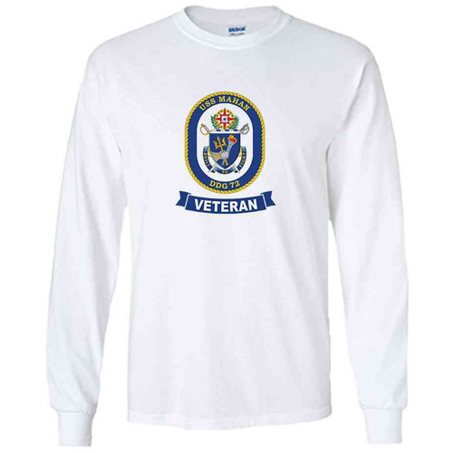 uss mahan veteran white long sleeve shirt
