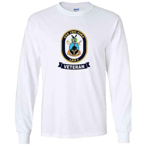 uss iwo jima veteran white long sleeve shirt