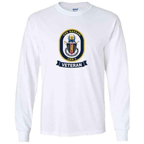 uss bataan veteran white long sleeve shirt