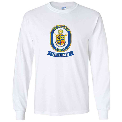 uss spruance veteran white long sleeve shirt