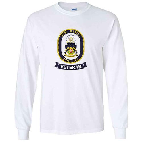 uss dewey veteran white long sleeve shirt