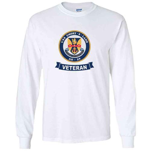 uss emory s land veteran white long sleeve shirt