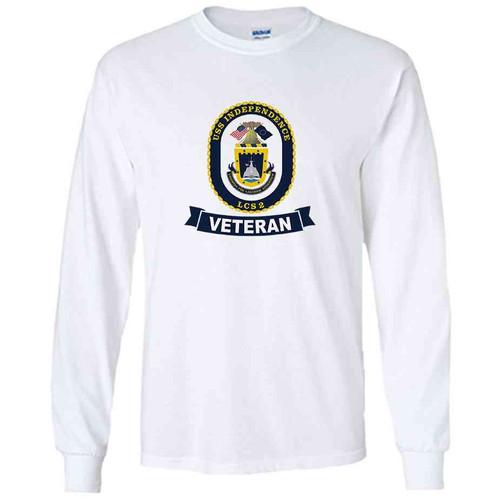 uss independence veteran white long sleeve shirt