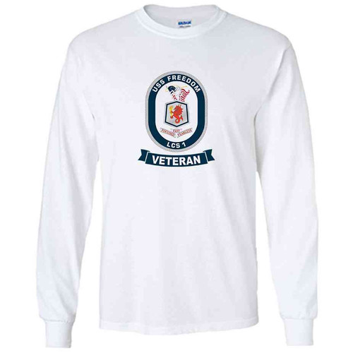 uss freedom veteran white long sleeve shirt