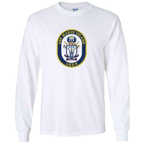 uss makin island white long sleeve shirt