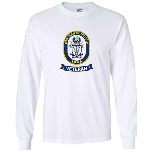 uss makin island veteran white long sleeve shirt