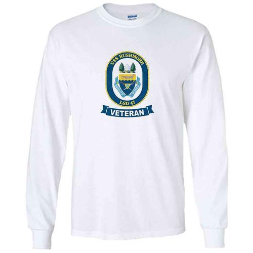 uss rushmore veteran white long sleeve shirt