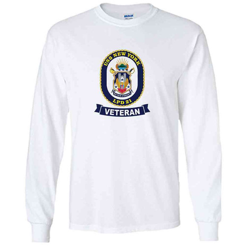 uss new york veteran white long sleeve shirt