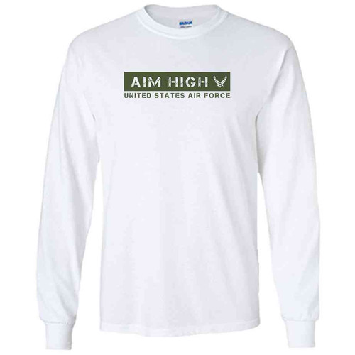 officially licensed u s air force aim high green white long sleeve shirt