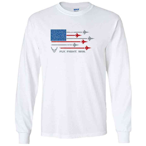 officially licensed u s air force fly fight win white long sleeve shirt