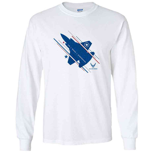 officially licensed u s air force jet and stars white long sleeve shirt