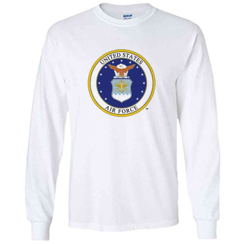officially licensed u s air force emblem white long sleeve shirt