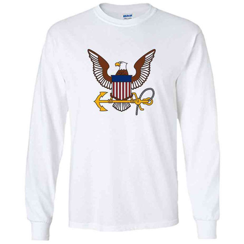 officially licensed u s navy eagle and anchor white long sleeve shirt